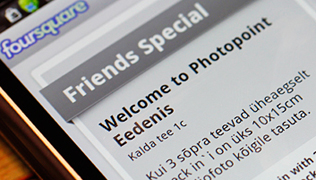 Предложение Photopoint в Foursquare: фото для трех товарищей
