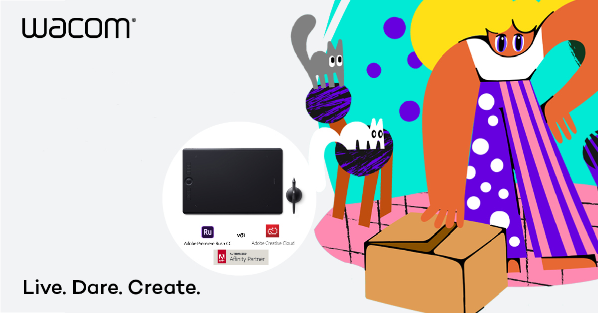 Купи Wacom Intuos Pro или Cintiq Pro и получи в подарок программное обеспечение Adobe