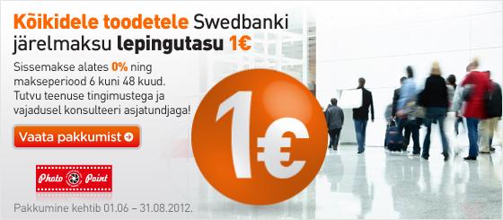 Kõikidele toodetele järelmaksu lepingutasu 1€