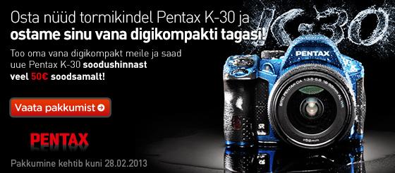 Vaheta vana digikompakt Pentax K-30 peegelkaamera vastu