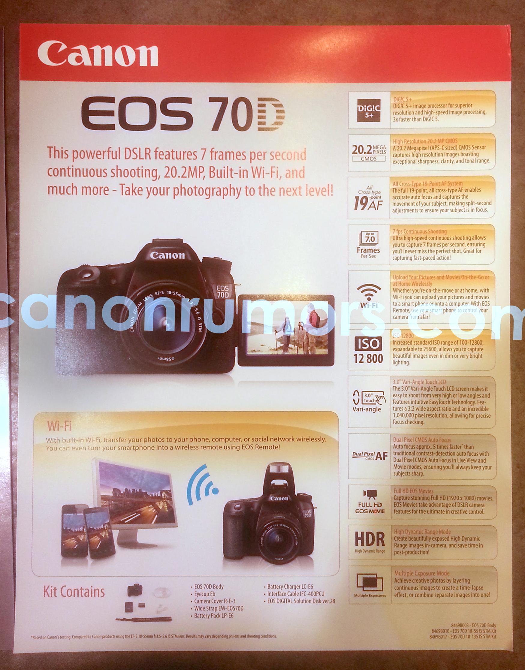 Tabatud: Canon EOS 70D fotode ning andmetega reklaam