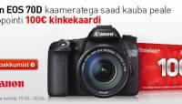Canon EOS 70D ostul saad kingituseks Photopointi 100€ kinkekaardi