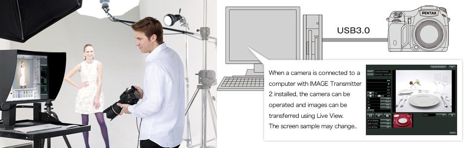 Image Transmitter 2 tarkvara võimaldab Pentax 645Z keskformaatkaamerat juhtida arvuti abil