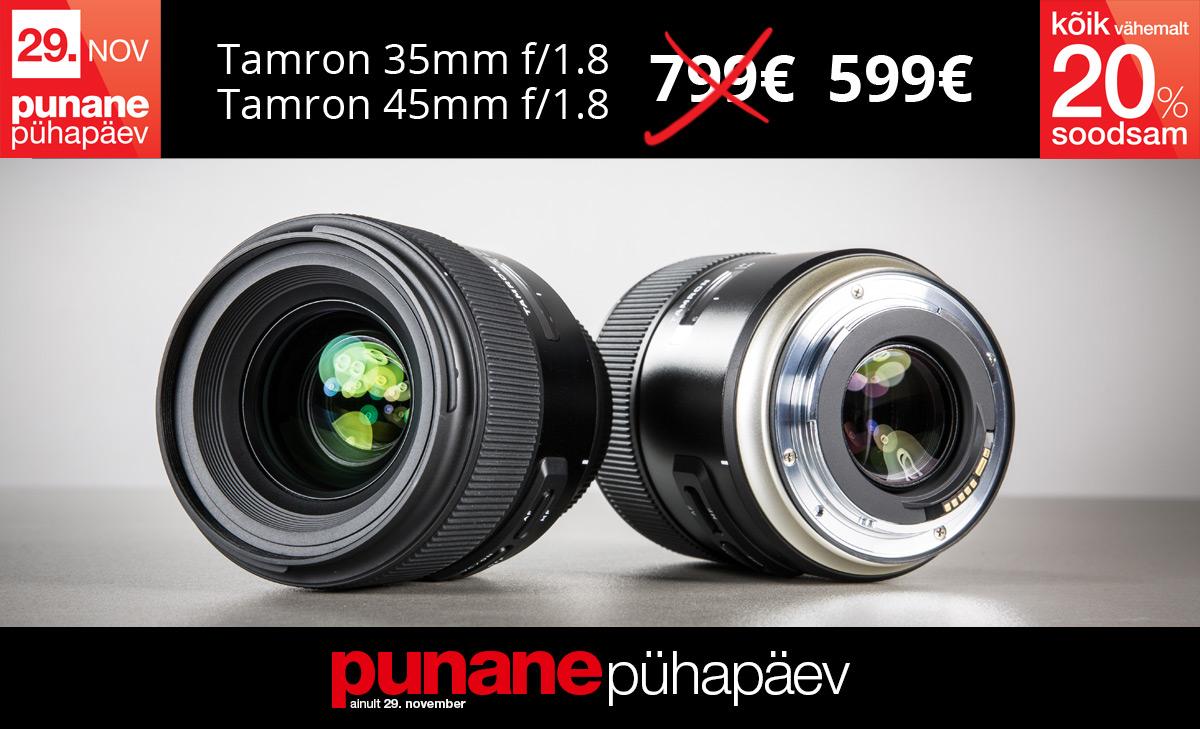 Superhinnaga Punasel Pühapäeval: Tamroni 35mm f/1.8 ja 45 mm f/1.8 objektiivid 200€ soodsamad