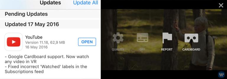 YouTube iOS rakenduses saab nüüd kõiki videoid vaadata Google Cardboard peakomplektiga