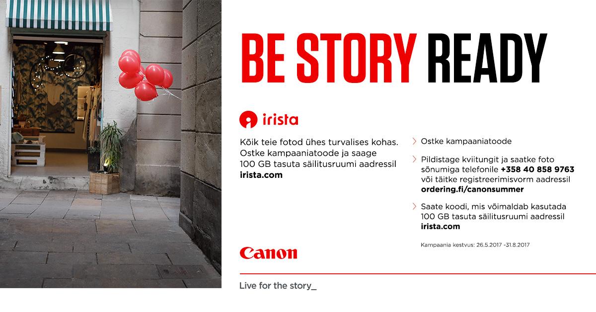 Canoni toodete ostul saad 100GB tasuta salvesturuumi Canon irista teenuses