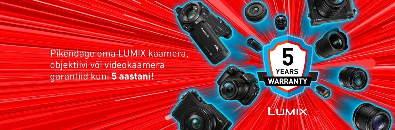 Pikenda Panasonic Lumix kaamera, objektiivi või videokaamera garantiid 5 aastani