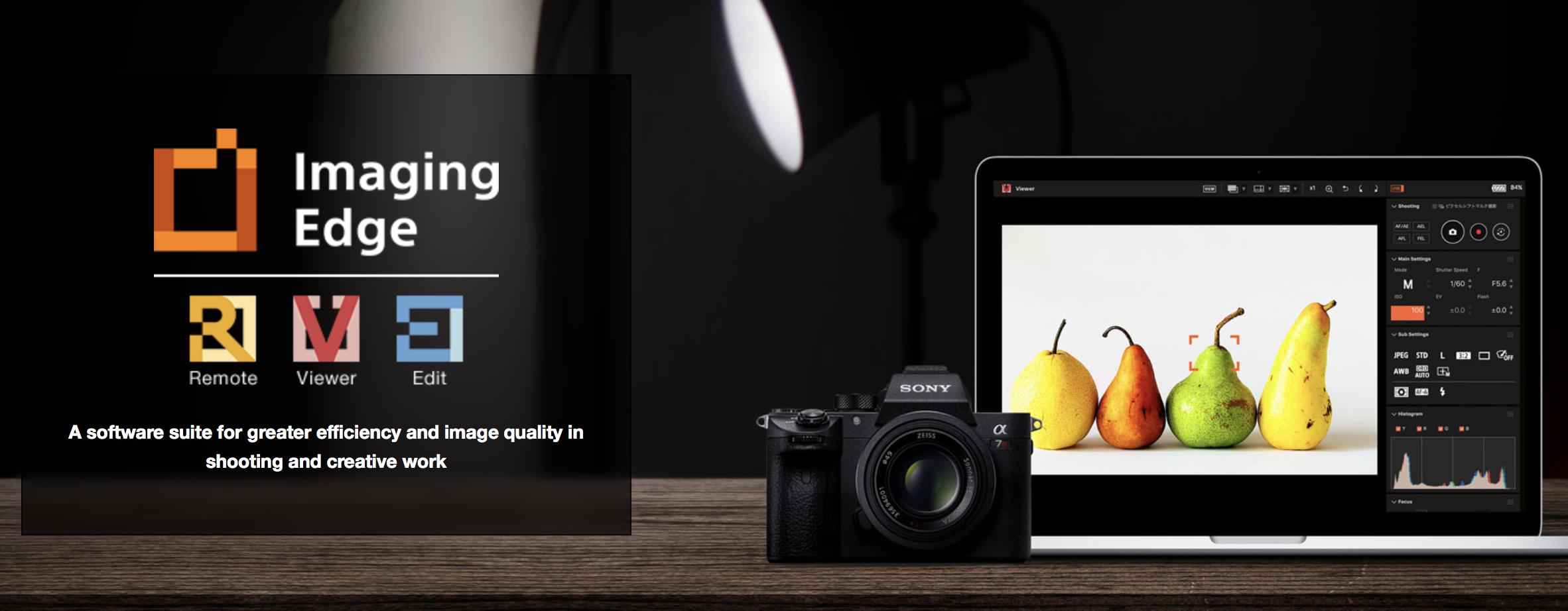 Sony Imaging Edge on kolmeosaline tasuta tarkvara pildistamiseks, fotode haldamiseks ja töötlemiseks