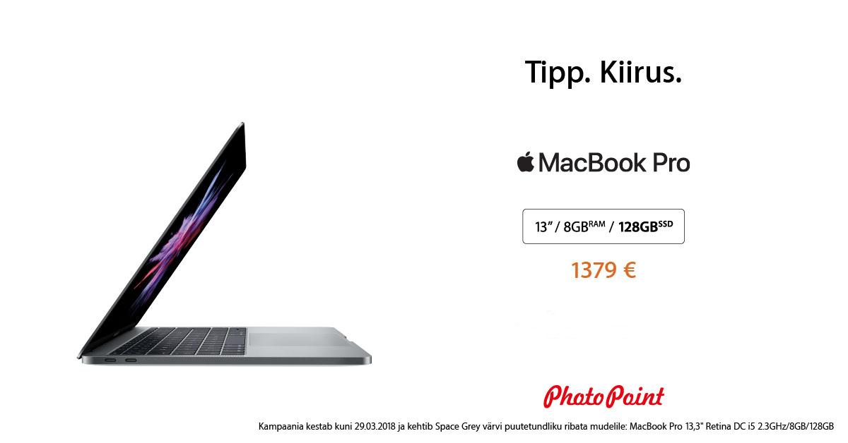"""Viimase põlvkonna Apple MacBook Pro 13"""" hetkel müügil ahvatleva soodushinnaga"""