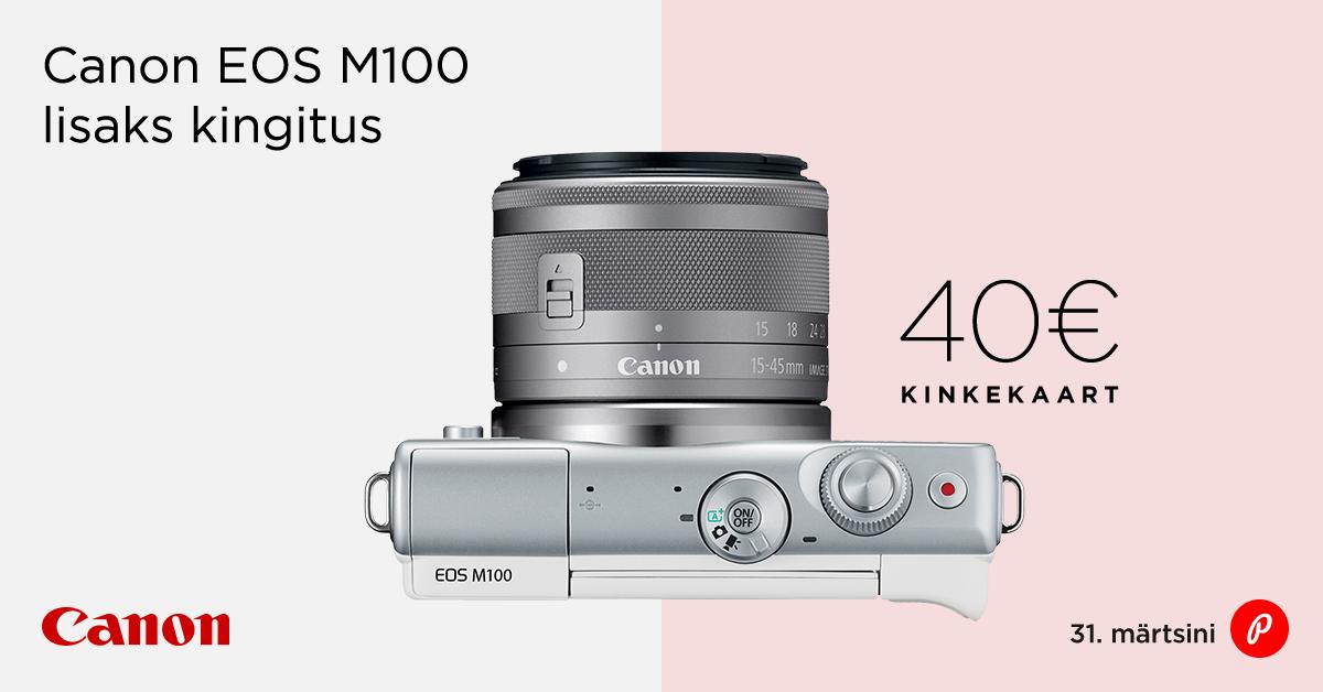 Canon EOS M100 ostjale kingituseks Photopointi veebikaubamaja kinkekaart