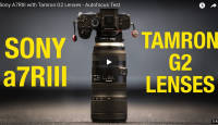 Tamroni objektiivid Sigma adapteriga Sony A7R III hübriidkaamera ees