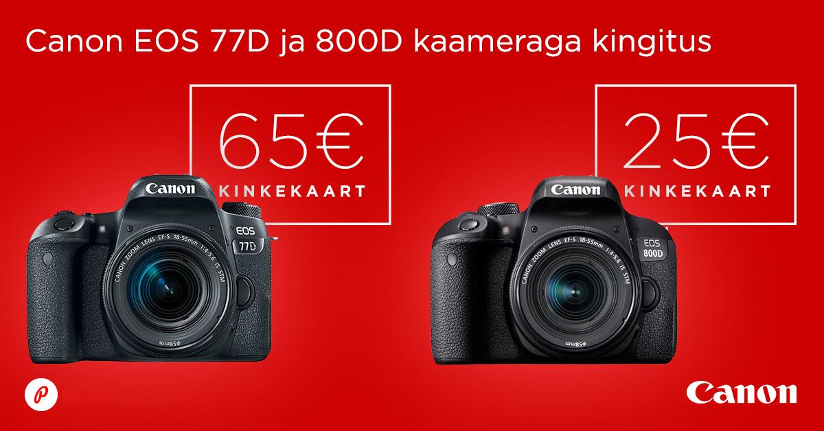 Canon EOS 77D või 800D peegelkaamera ostul kingitus