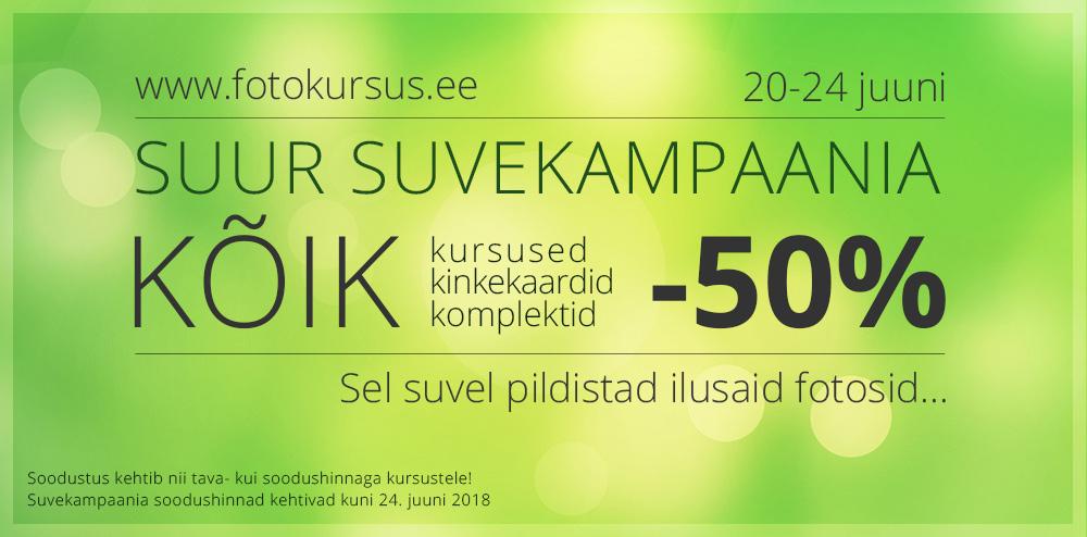 Fotokursus.ee aasta suurim soodusmüük - kõik kursused -50% (ka soodushindadest)