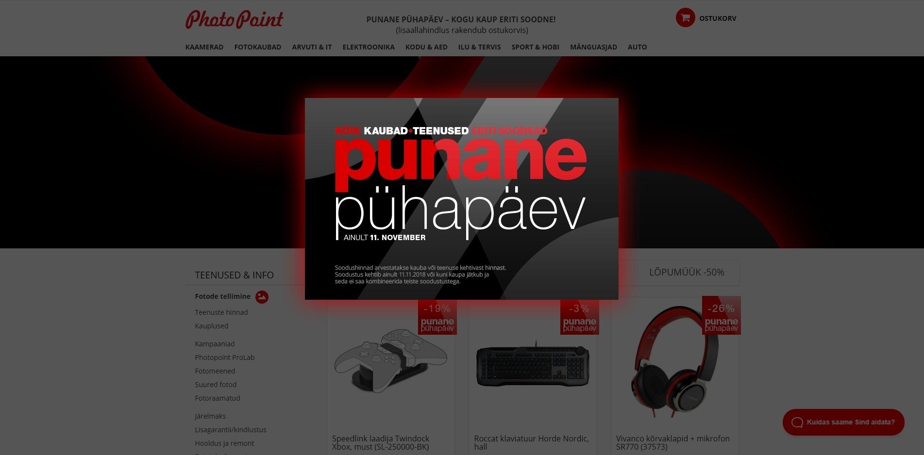 """571a5fa6310 Photopointi aasta suurima soodusmüügi """"Punane Pühapäev"""" ajal on 11.  novebril ka photopoint.ee veebikaubamajas kõik tooted nii soodus- kui  tavahindadest ..."""