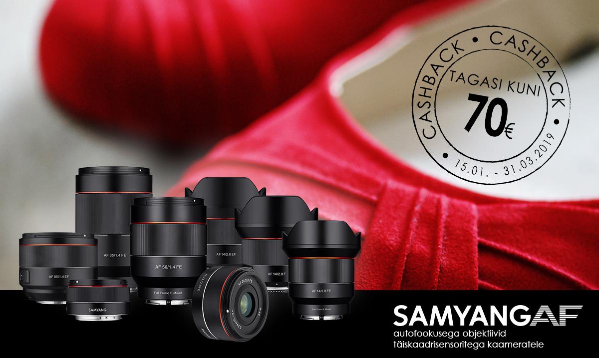 Valitud Samyang AF fiksobjektiivi ostul saad 30-70€ osturaha tagasi