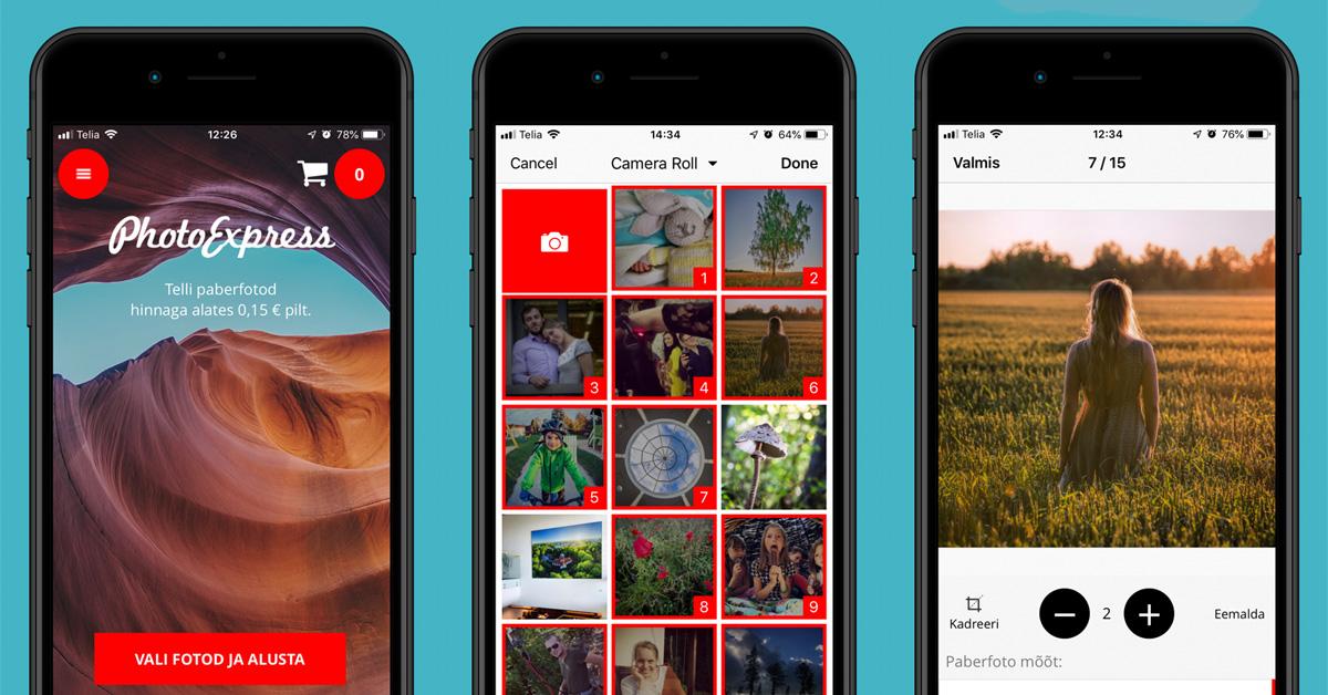 Vali fotod ja alusta - valminud on PhotoExpress Online äpp iOS seadmetele