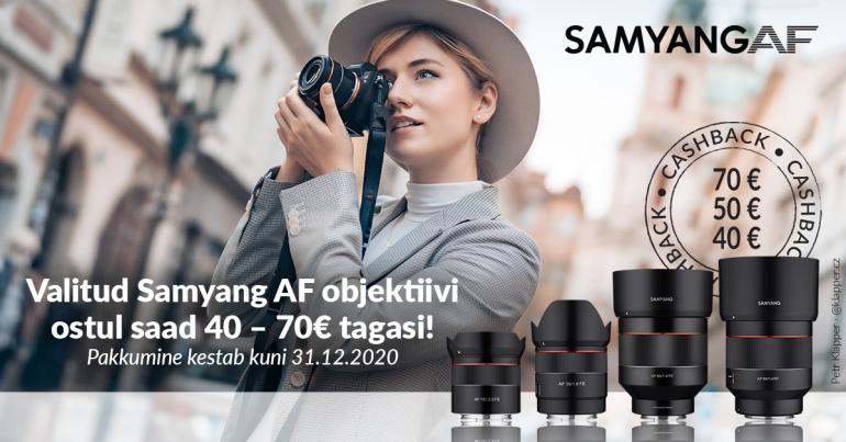 VIIMANE VÕIMALUS: valitud Samyang AF fiksobjektiivi ostul saad 40-70€ osturaha tagasi