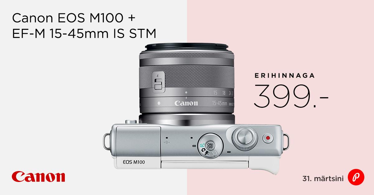 Stiilne Canon EOS M100 komplekt nüüd müügil erihinnaga 399€