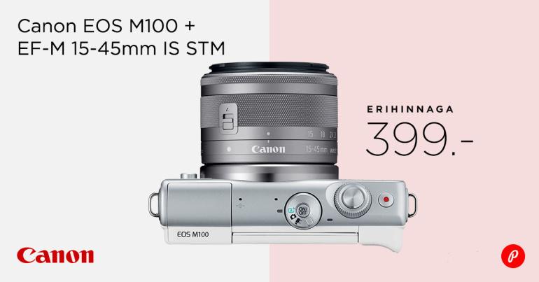 Stiilne Canon EOS M100 komplekt on müügil erihinnaga 399€