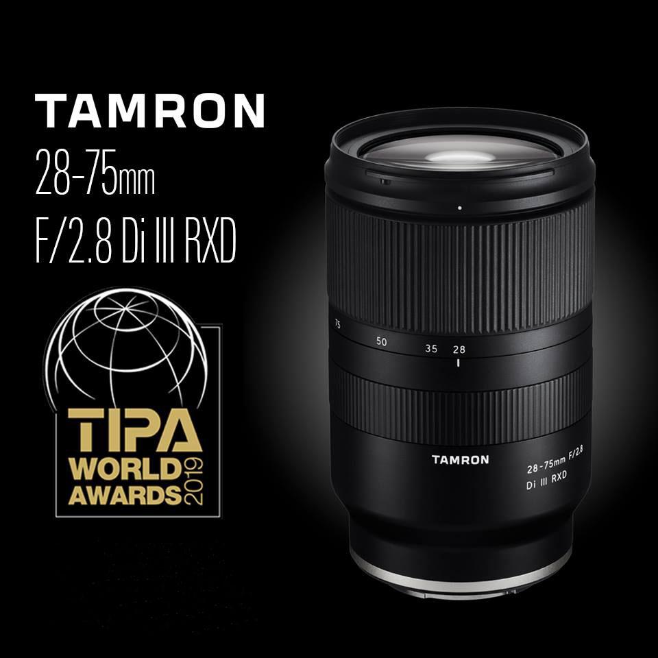 Tamron 28-75mm f/2.8 RXD objektiiv Sonyle noppis TIPA 2019 auhinna