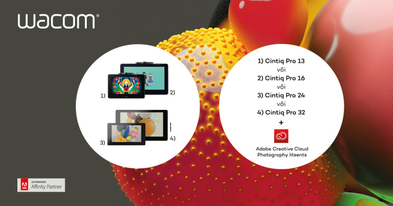 VIIMANE VÕIMALUS - Osta Wacom Cintiq Pro ja saad Adobe Creative Cloud Photography litsentsi aastaks tasuta