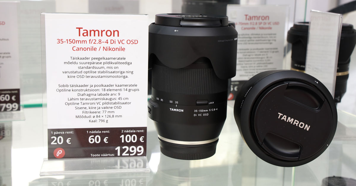 Rentimiseks saadaval: Tamron 35-150mm f/2.8-4 Di VC OSD suumobjektiiv
