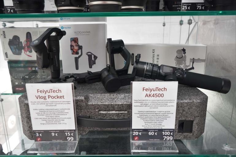 Rentimiseks on saadaval FeiyuTech Vlog Pocket ja FeiyuTech AK4500 gimbal