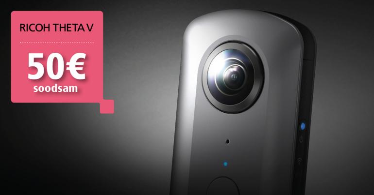 360° fotosid ja videoid salvestav Ricoh Theta V on 50€ soodsam