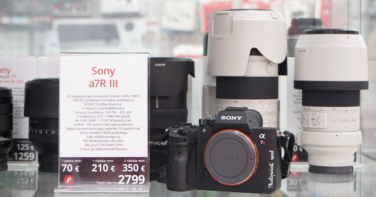 Sony a7r III rentimiseks