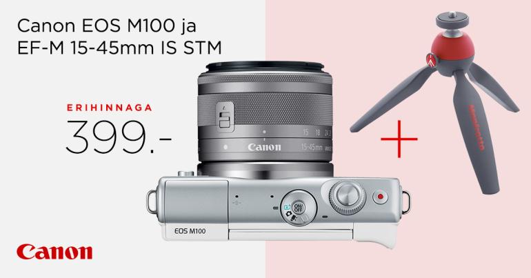 Stiilne Canon EOS M100 komplekt on müügil erihinnaga 399€ + kingituseks ministatiiv