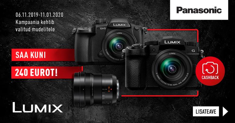 Valitud Panasonic Lumix hübriidkaamera või objektiivi ostul saad kuni 240€ tagasi