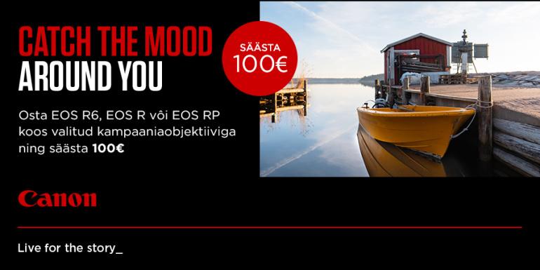 Osta Canon EOS R6, EOS R või EOS RP koos valitud RF-objektiiviga ja saad 100€ soodukat