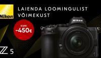 KUNI 22. SEPTEMBER: Nikon Z5 täiskaader hübriidkaamera on kuni -450€