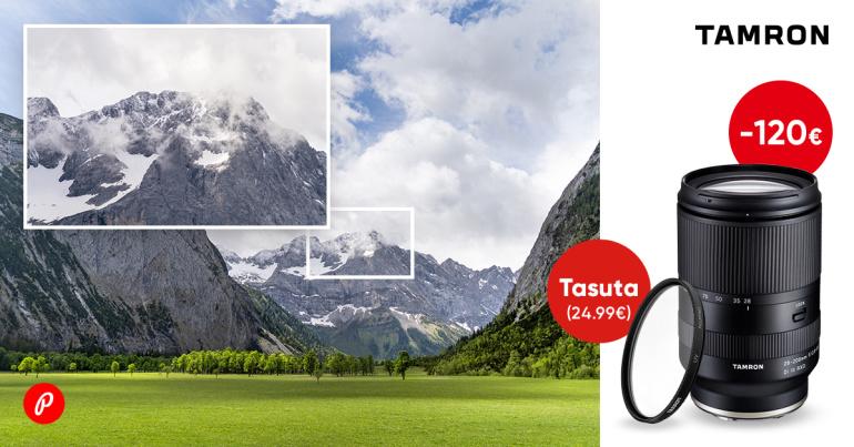 Tamron 28-200mm RXD objektiiv Sonyle on -120€ ja kaasa väärt kingitus