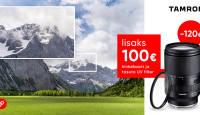 Tamron 28-200mm RXD objektiiv Sonyle on -120€ ja kaasa väärt kingitused