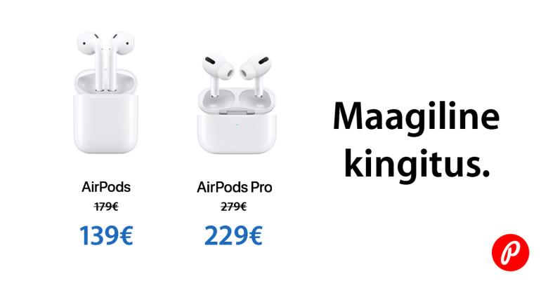 Apple AirPods ja AirPods Pro juhtmevabad kõrvaklapid on müügil soodushinnaga