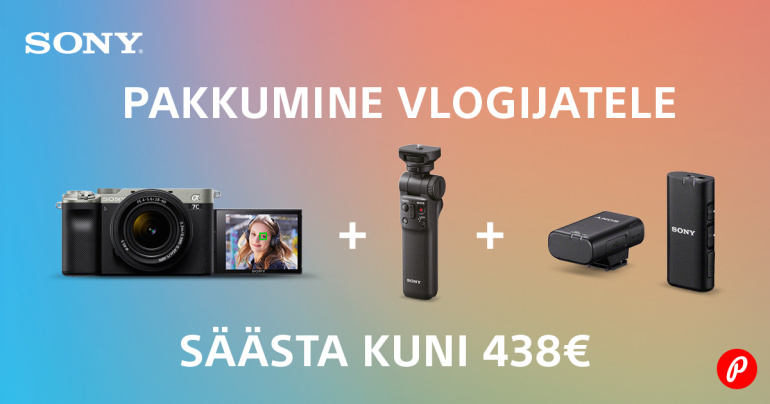 Sony a7c täiskaader hübriidkaamera vlogkomplekti ostul säästad kuni 438€