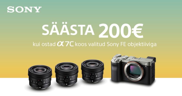 Osta Sony a7c koos valitud Sony FE objektiiviga ja saad 200€ alla + kingitus