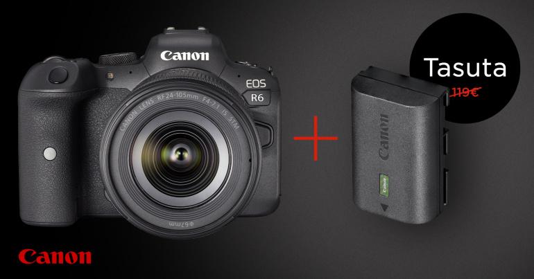 Populaarne Canon EOS R6 on kuni -350€ ja ostul saad kingituseks lisaaku
